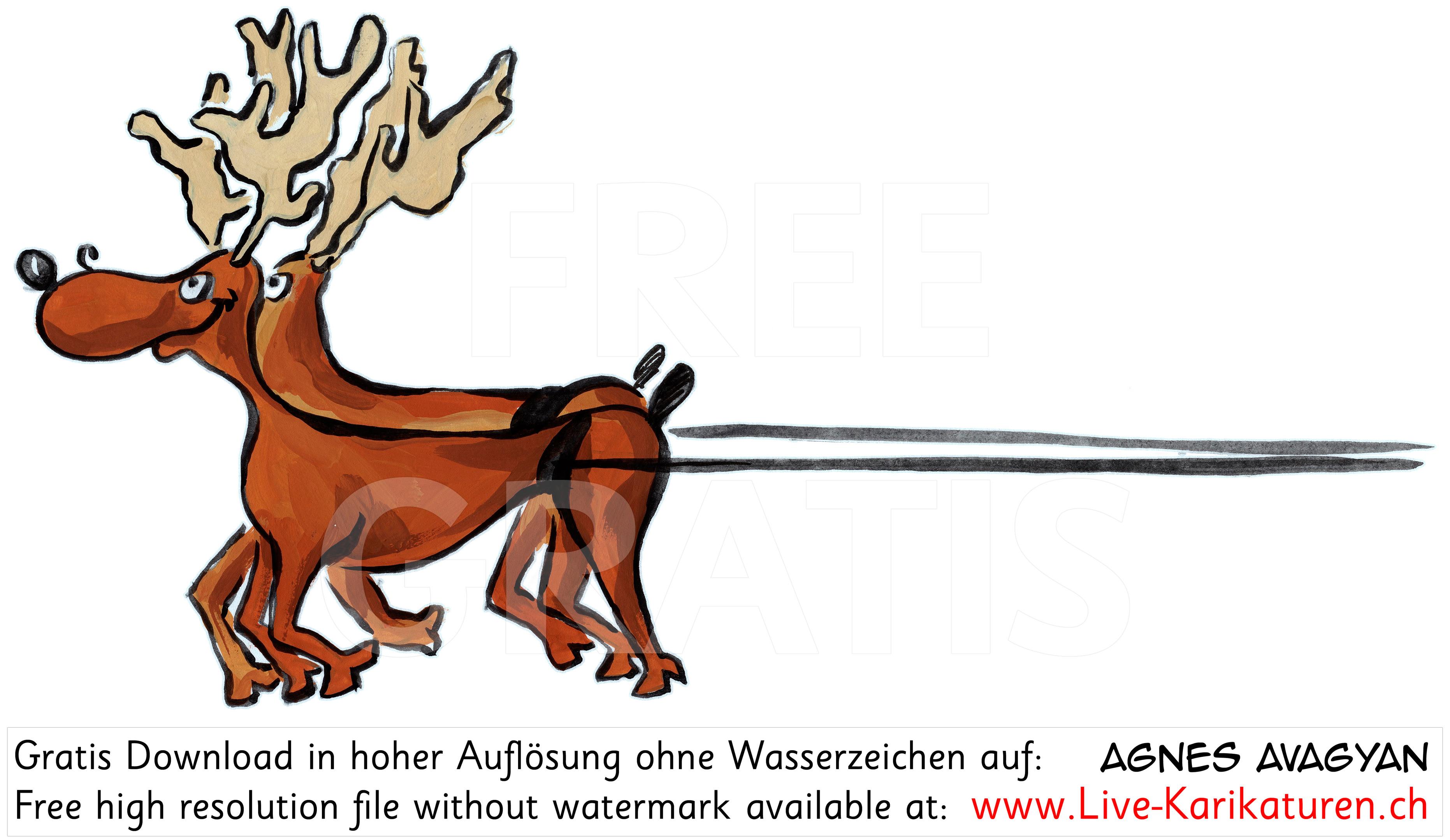 Weihnachtsmann Schlitten links Rentiere.