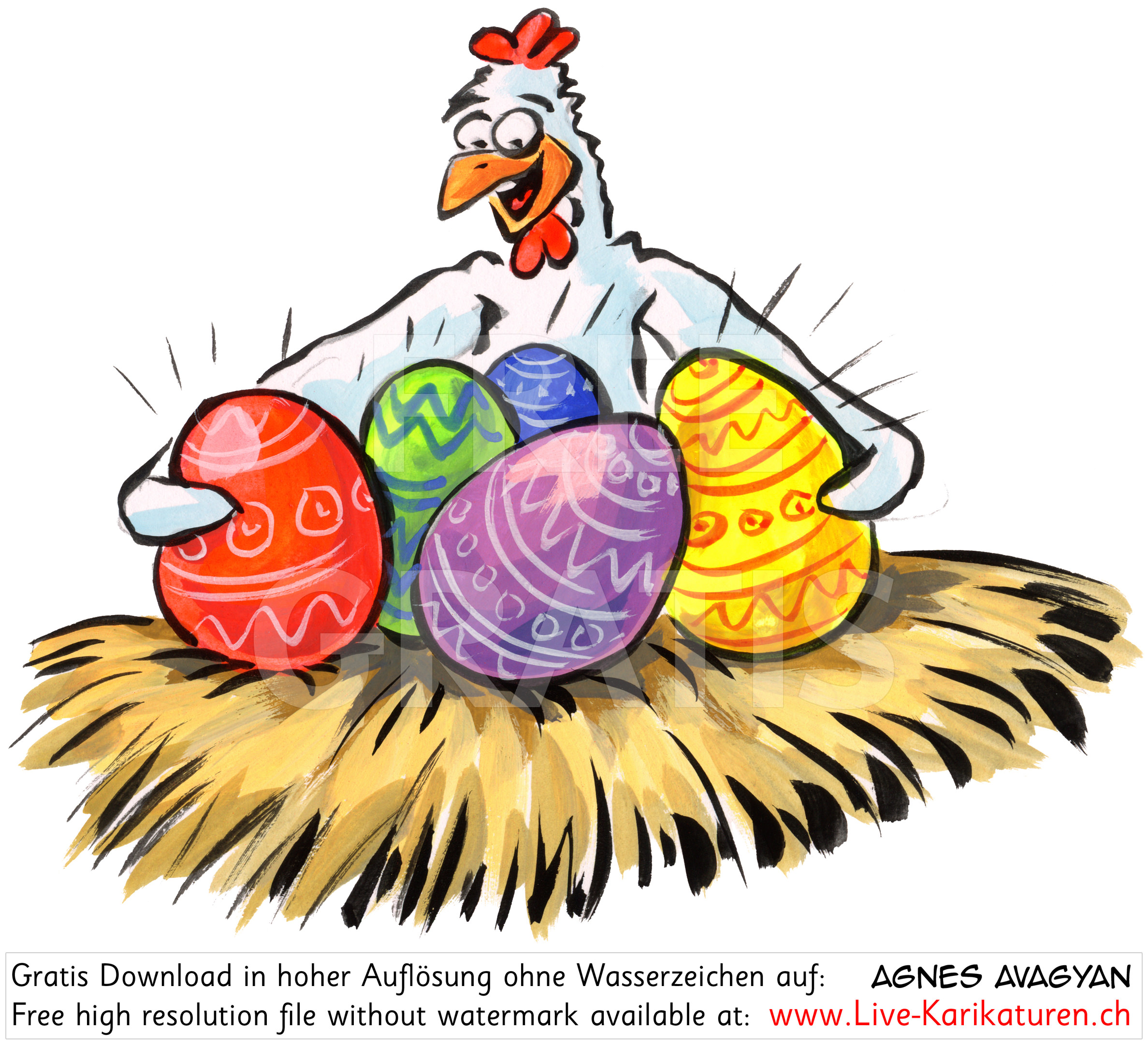 Ostern Osternest Huhn Henne.