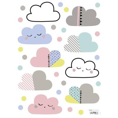 Kis, színes felhők falmatrica.