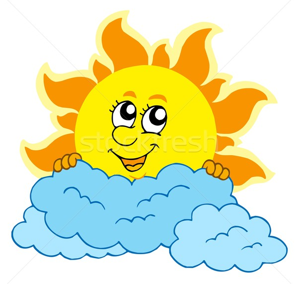 Cute cartoon Sun with clouds vector illustration © Klara Viskova.