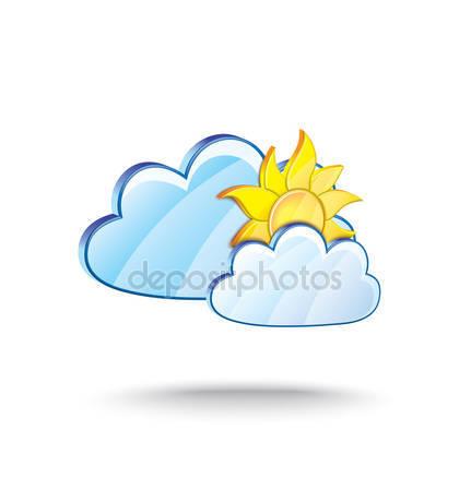 Időjárás ikon clipart nap és a felhők illusztráció — Stock Vektor.