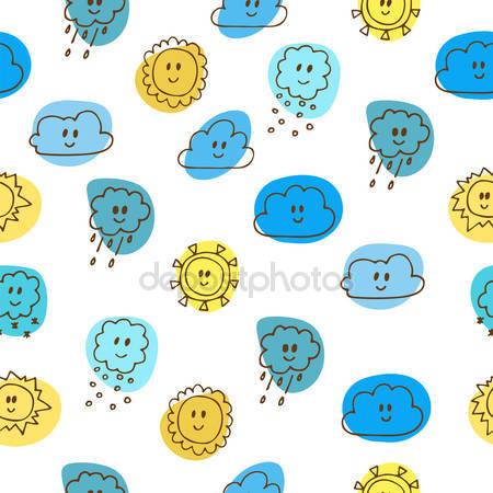 Varrat nélküli háttérkép gyerekrajzok a nap és a felhők — Stock.