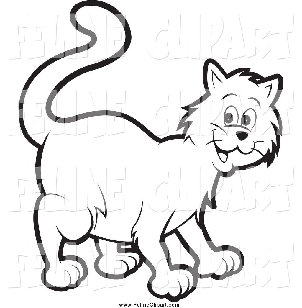 Cat black and white clip art.