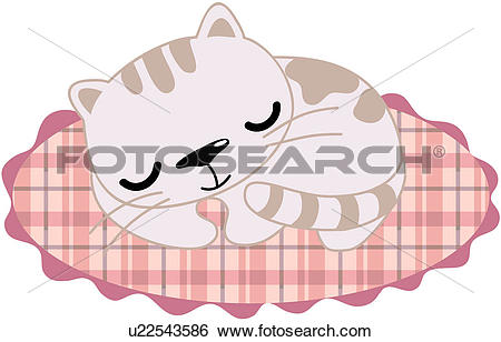 Clip Art of check, feline, rug, pet, domestic, pattern, cat.