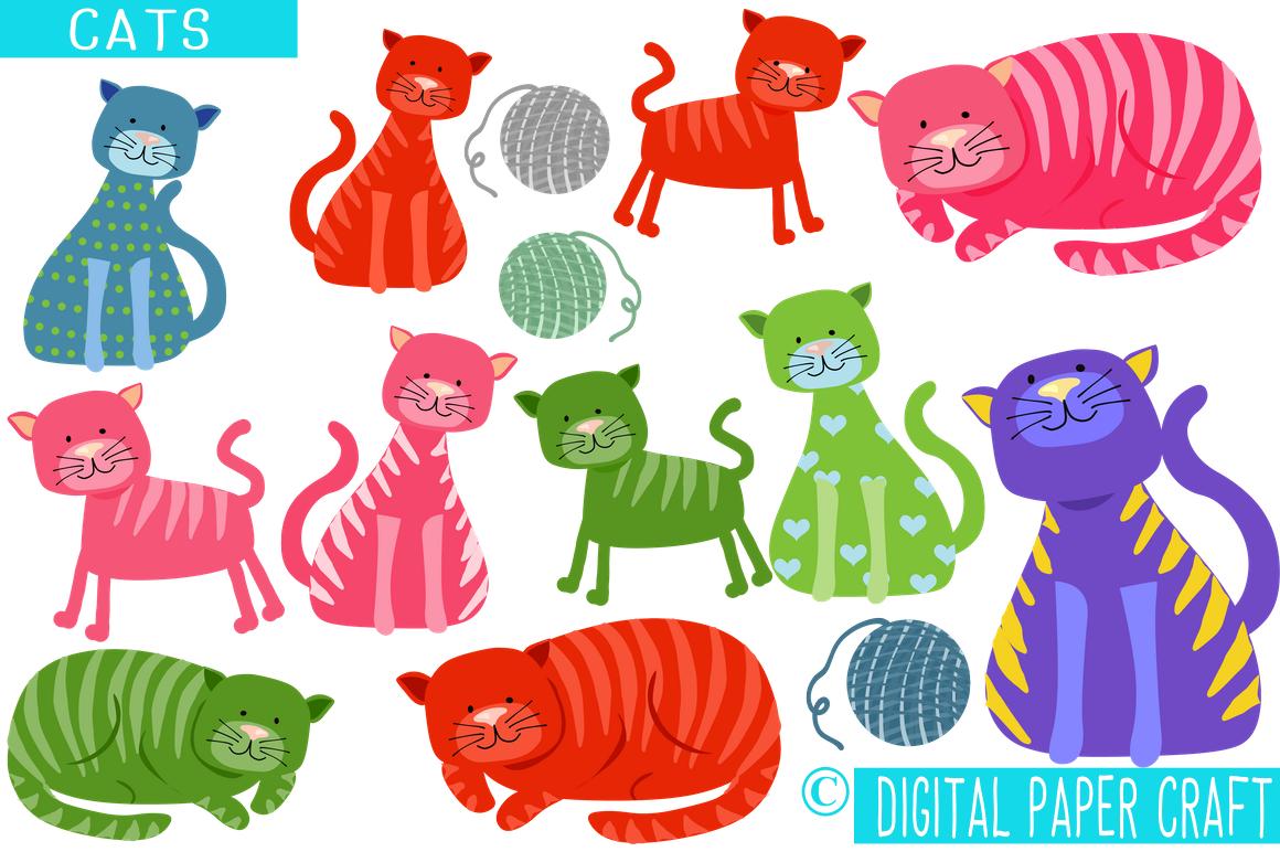 Cat Clipart, Color Cats, Feline Clipart, Cartoon Cat, Funny Cat.