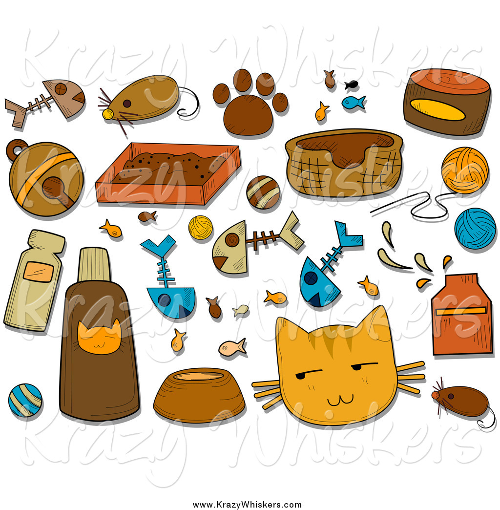 Critter Clipart of Feline Icons and Items by BNP Design Studio.