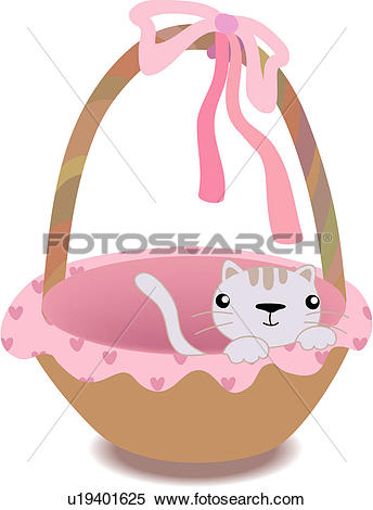 Clipart of bow, basket, ribbon, domestic, feline, animal, cat.