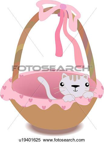 Clipart of bow, basket, ribbon, domestic, feline, animal, cat.