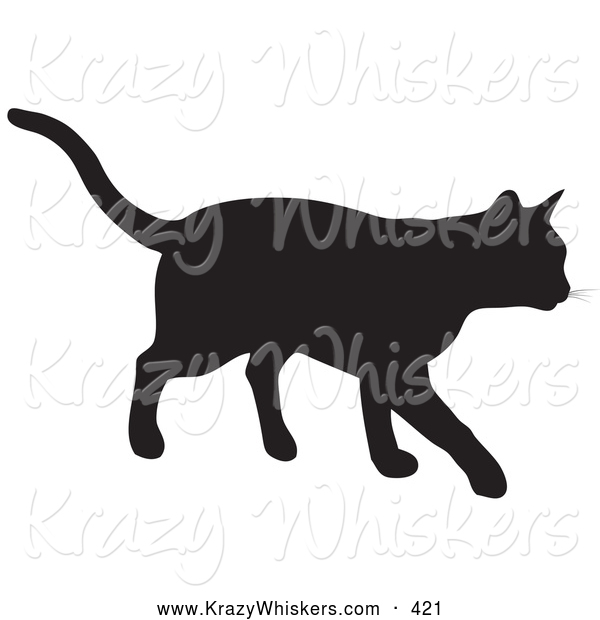 Critter Clipart of a Black Silhouetted Feline Walking Right by KJ.