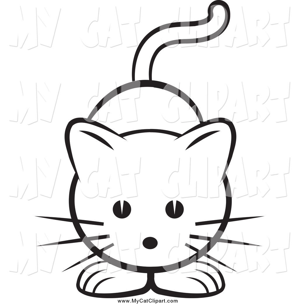 Clip Art of a Black and White Cat by Lal Perera.