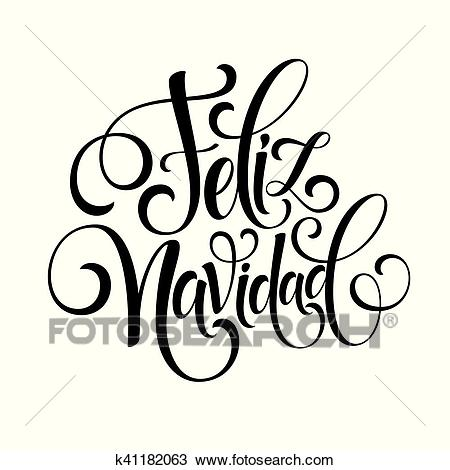 Feliz Navidad hand lettering decoration text for greeting card design  template. Merry Christmas typography label in spanish. Calligraphic  inscription.