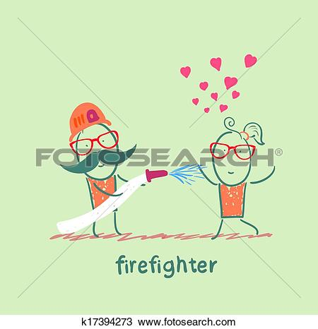 Clipart of firefighter extinguishes a girl who fell in love.