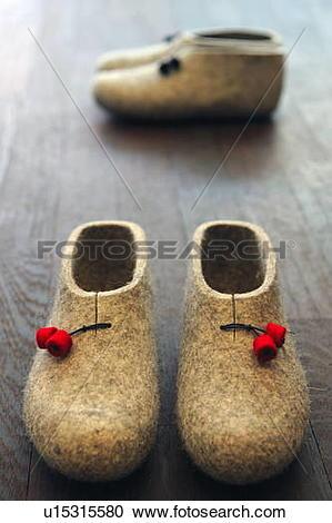 Stock Photography of Felt slippers u15315580.