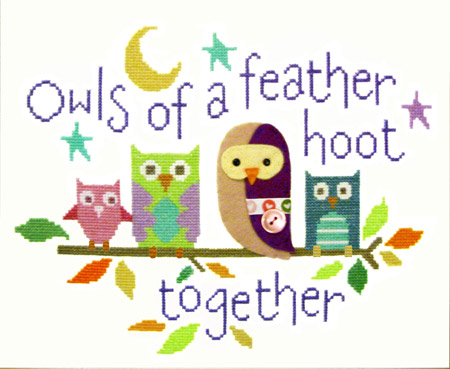 Owls of a Feather Cross Stitch Felty Cross Stitch Kit.