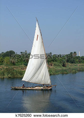 Stock Photography of Nile scenery with felucca k7625260.