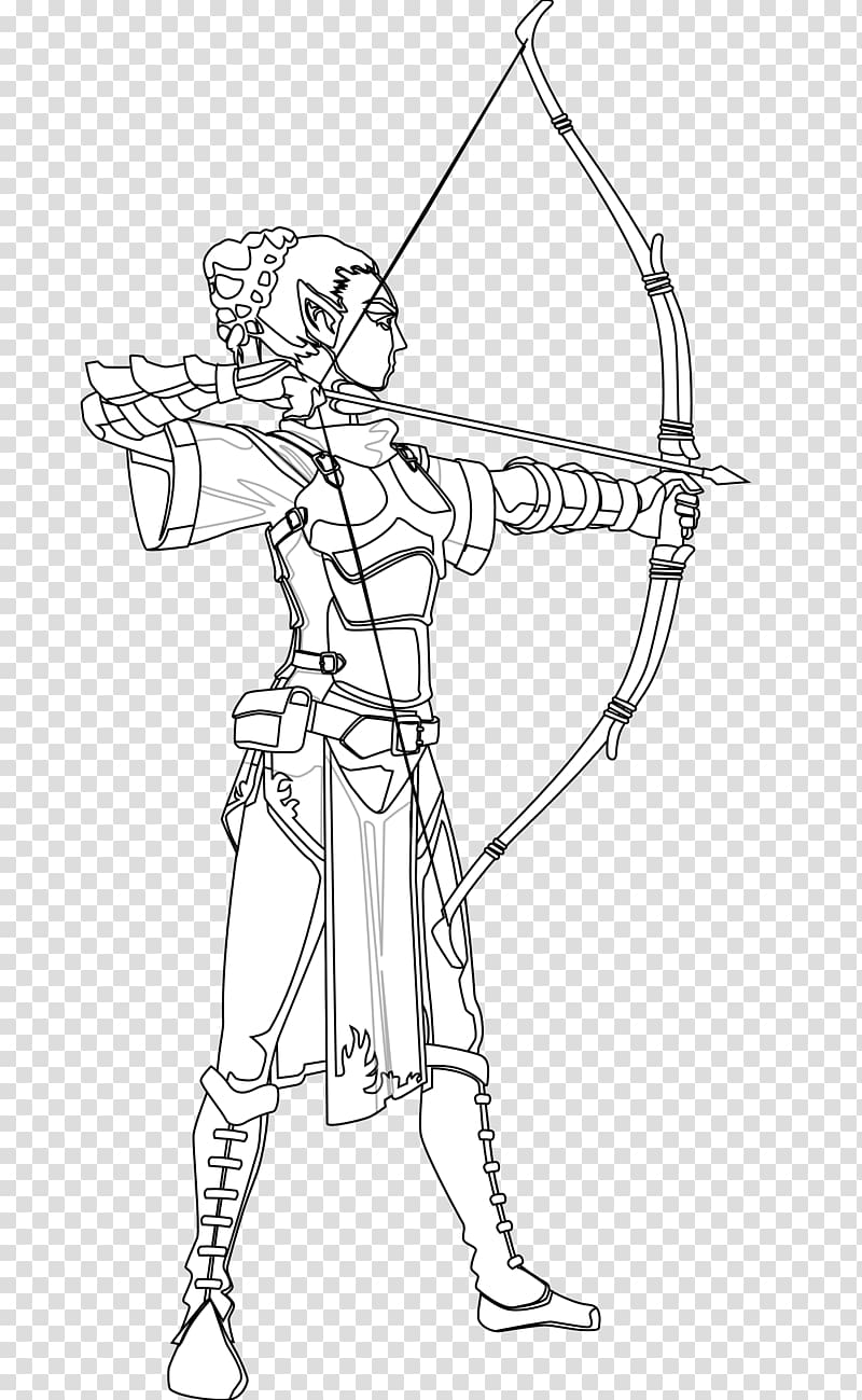 Black and white Drawing Archery Coloring book , Female.