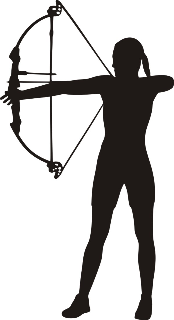 Female archer clipart.