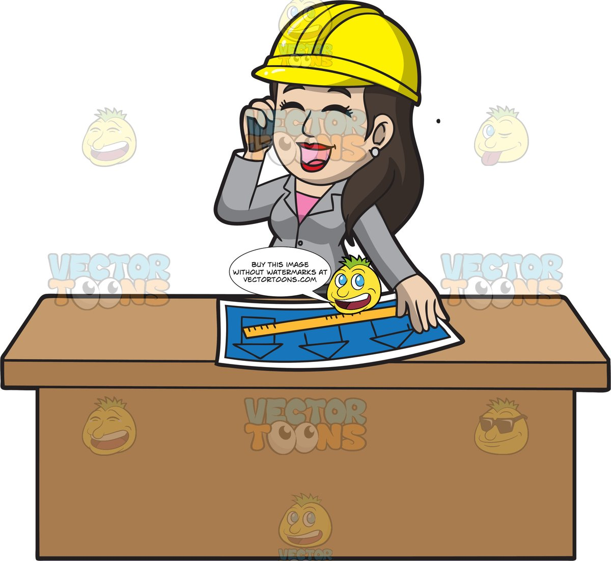 A Female Architect Talking To Her Client On The Phone.