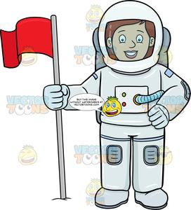 A Female Astronaut Smiles After Setting A Flag On A Foreign Surface.