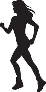 Female Athlete Silhouette Clipart.