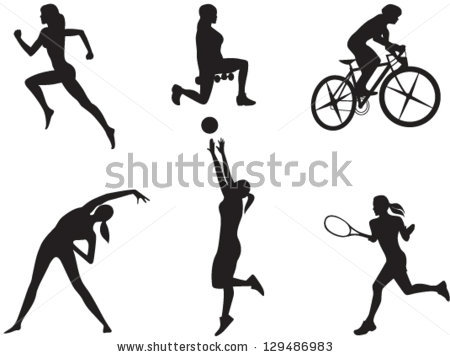 Silhouettes Women Different Kinds Sport Vector Stock Vector.