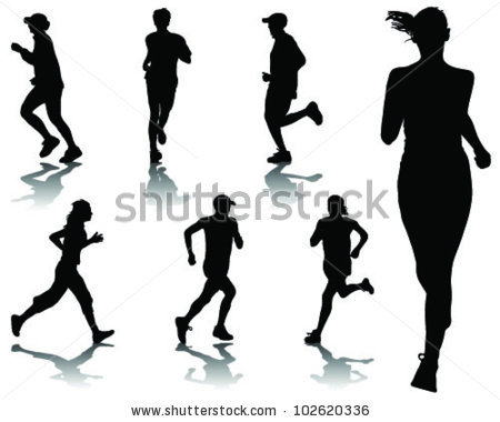 Runner Silhouette Stock Images, Royalty.