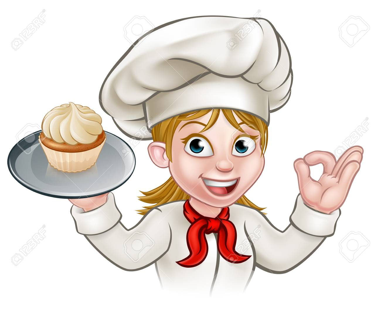 Cartoon Woman Pastry Chef Baker With Cupcake.