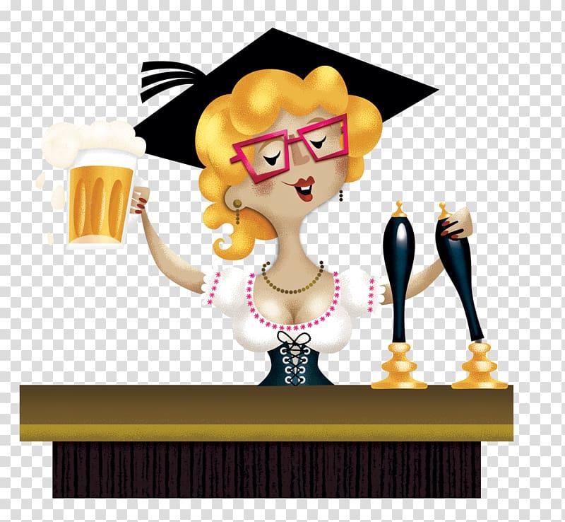 Beer Bartender , Cartoon female bartender transparent.