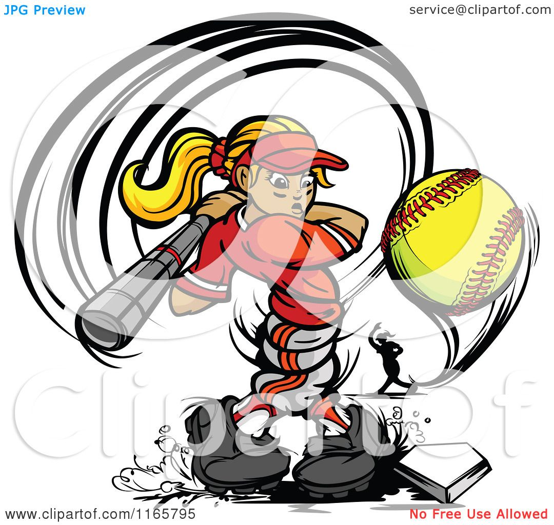 Softball player clipart