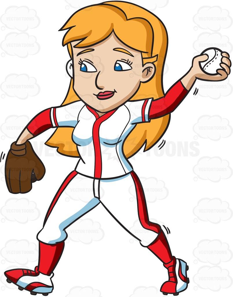 Girl Baseball Player Clipart.
