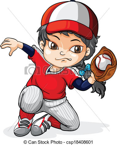 Girl Baseball Player Clipart.