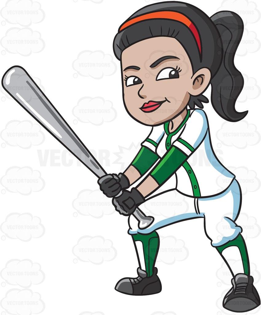 female baseball player clipart #9