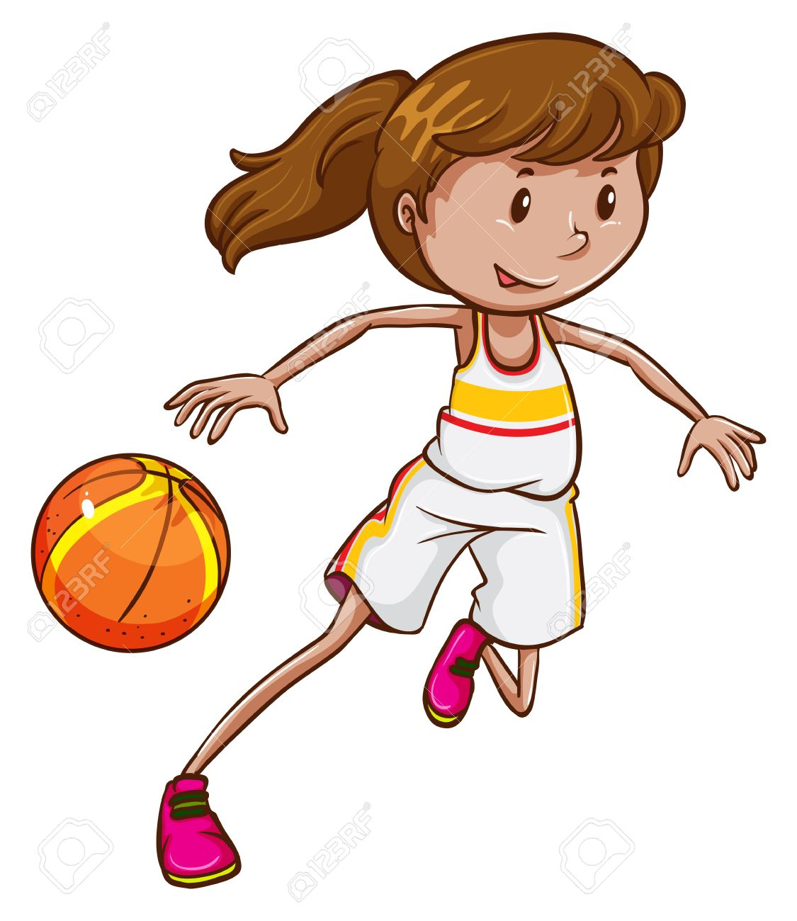 A female basketball player on a white background.