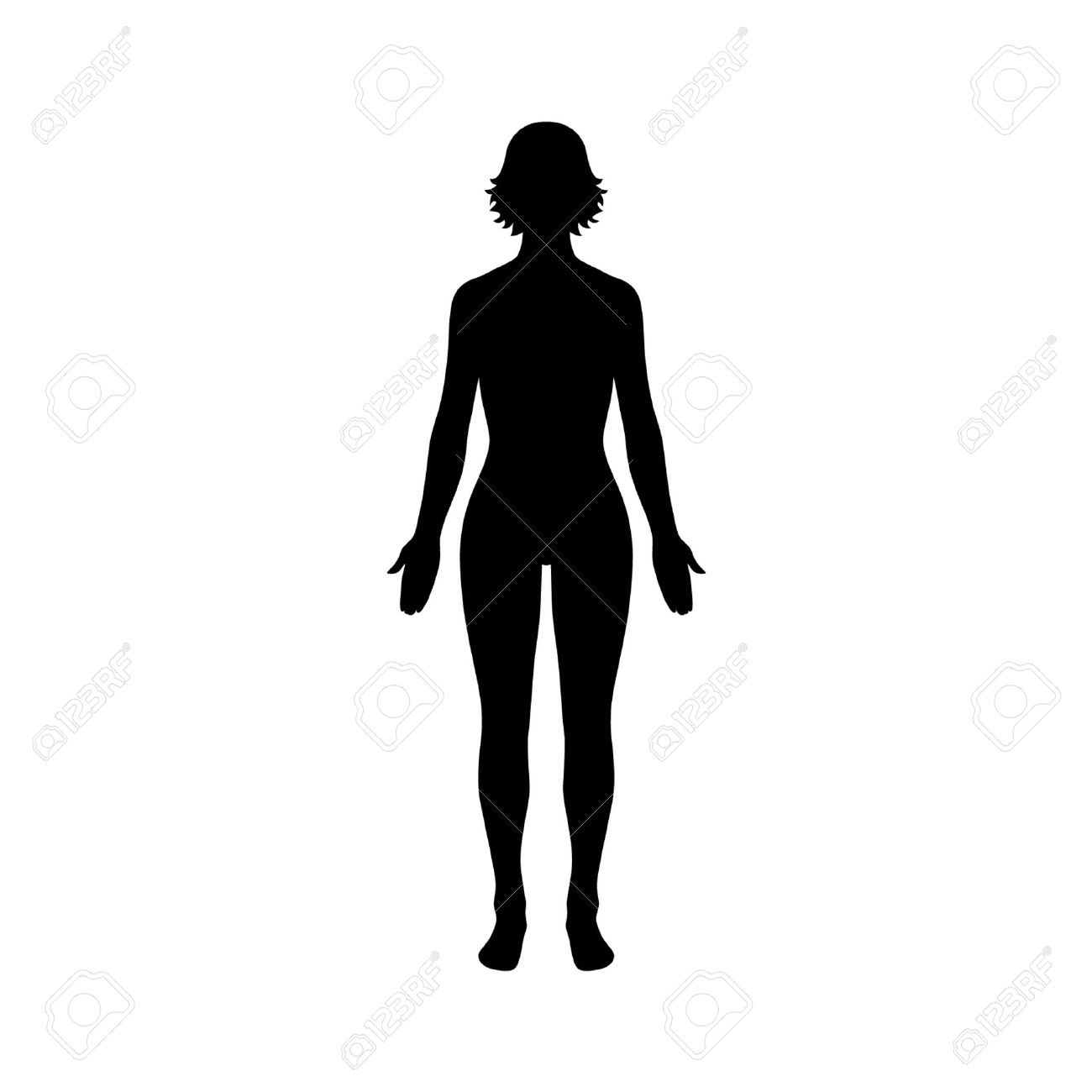 Female human body flat icon for apps and website.