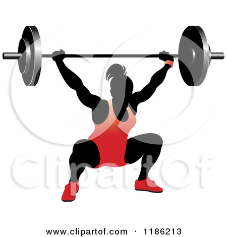 Clipart of a Silhouetted Stretching Female Bodybuilder with Silver.