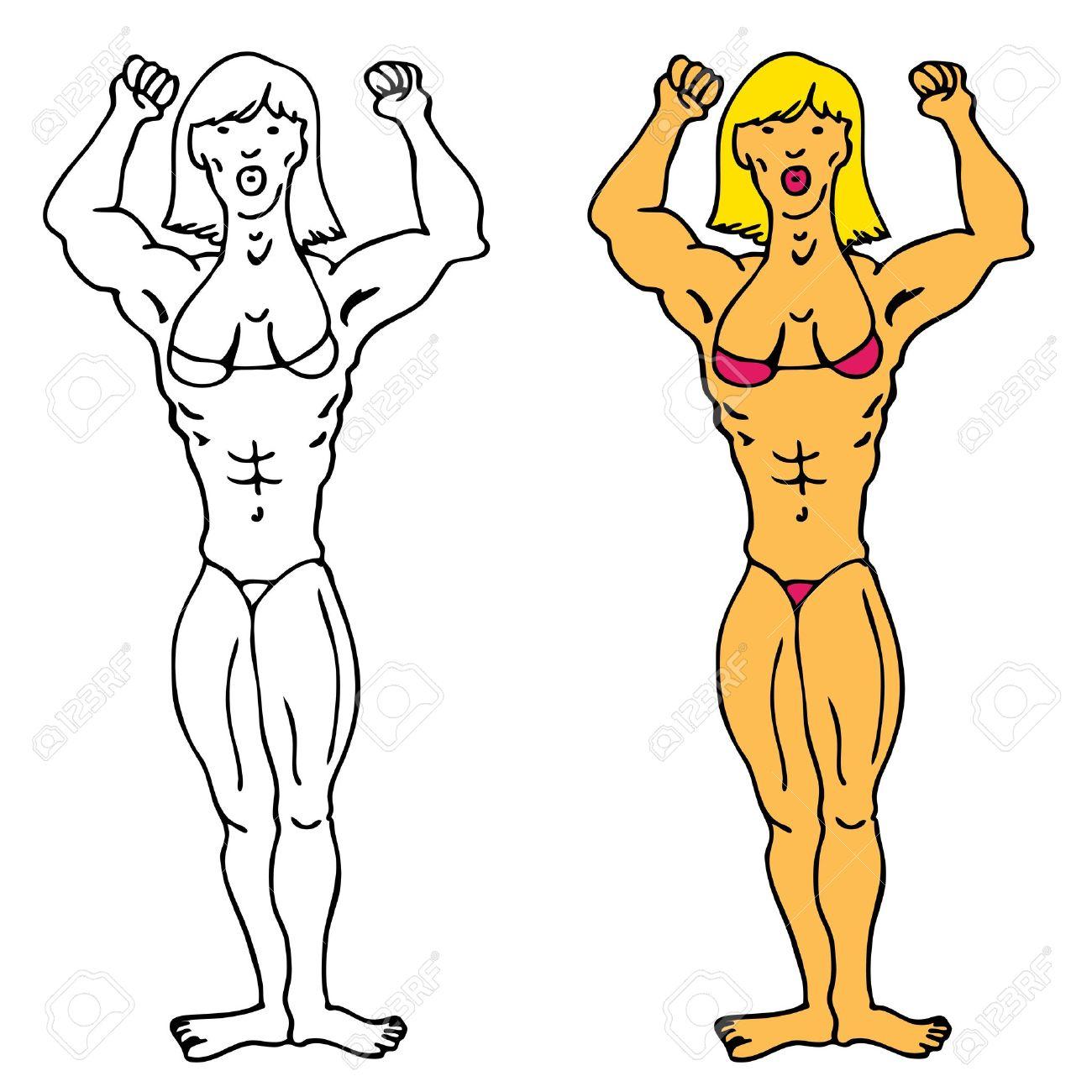Female Bodybuilder Clipart.