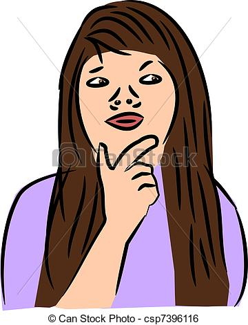 Clip Art Vector of Woman Thinking.