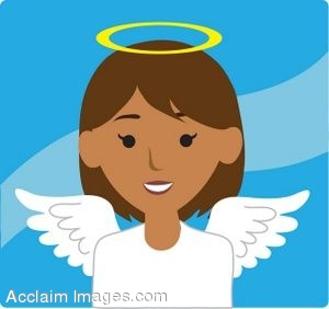 Clip Art Icon of a Angel Girl with Brown Hair.