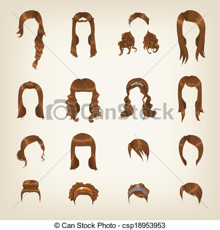 Clipart Vector of Set of female brown hair.