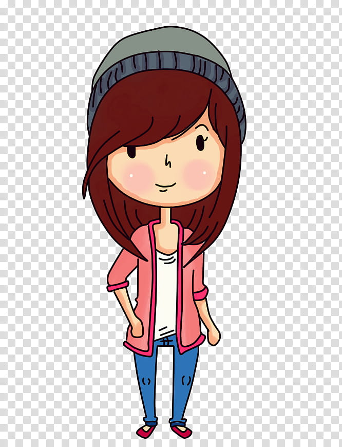 Casual Girl, red haired female cartoon character.