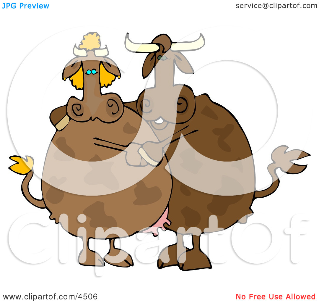 Male and Female Cows Dancing Together Clipart by Dennis Cox #4506.