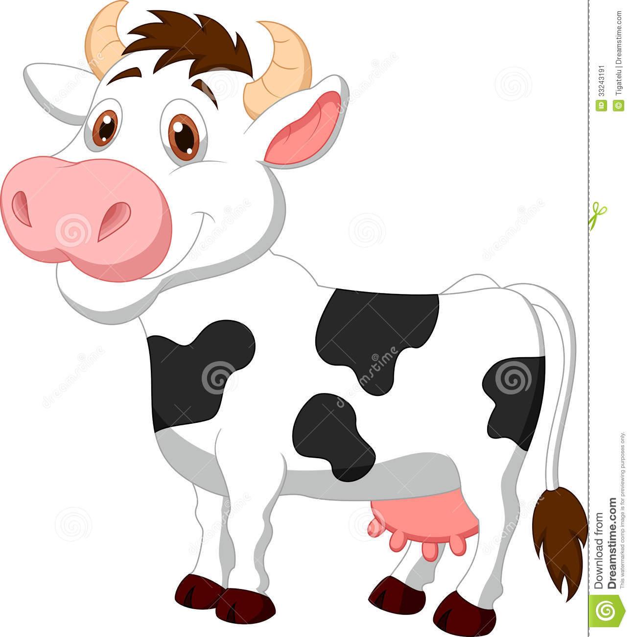 Cute Cow Cartoon Stock Image.