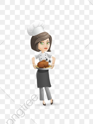 Female Chef, Chef Clipart, Chef, Hand Painted PNG Transparent Image.