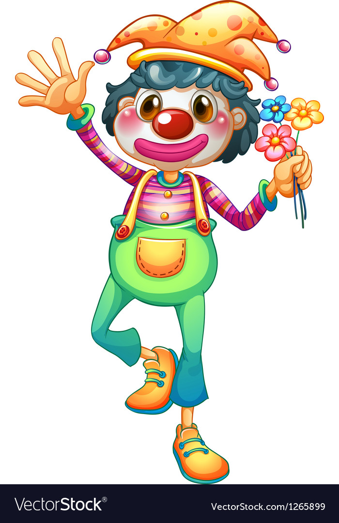 A female clown with three flowers.