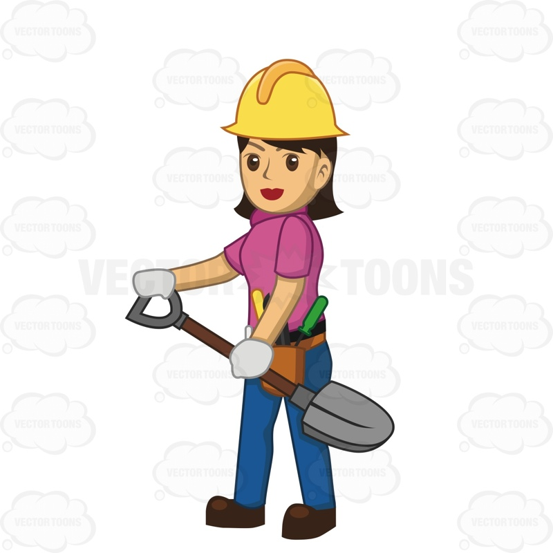 Female Construction Worker Clipart.