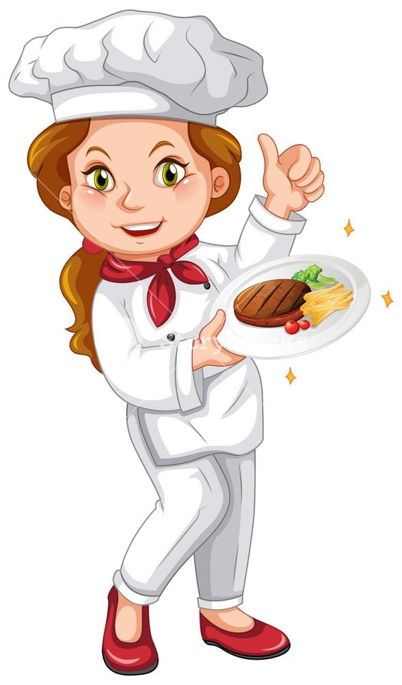 Female chef holding signature dish illustration Royalty.