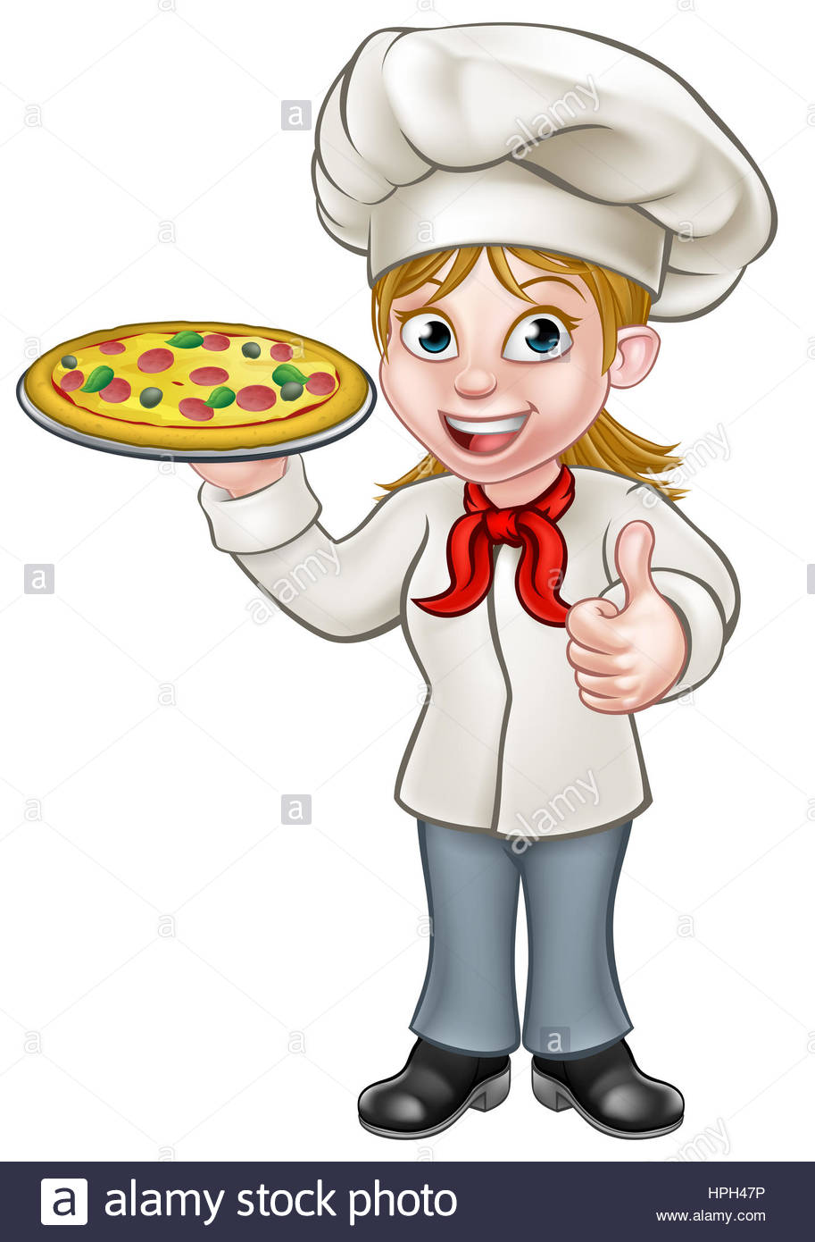 Cartoon female woman chef cook character holding a pizza and giving.