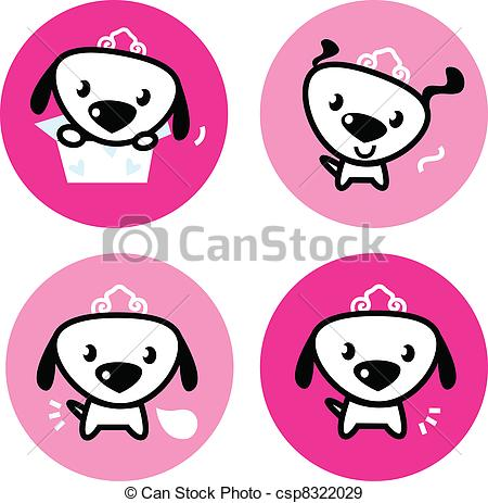 EPS Vectors of Cute female dog with crown pink icons or buttons.