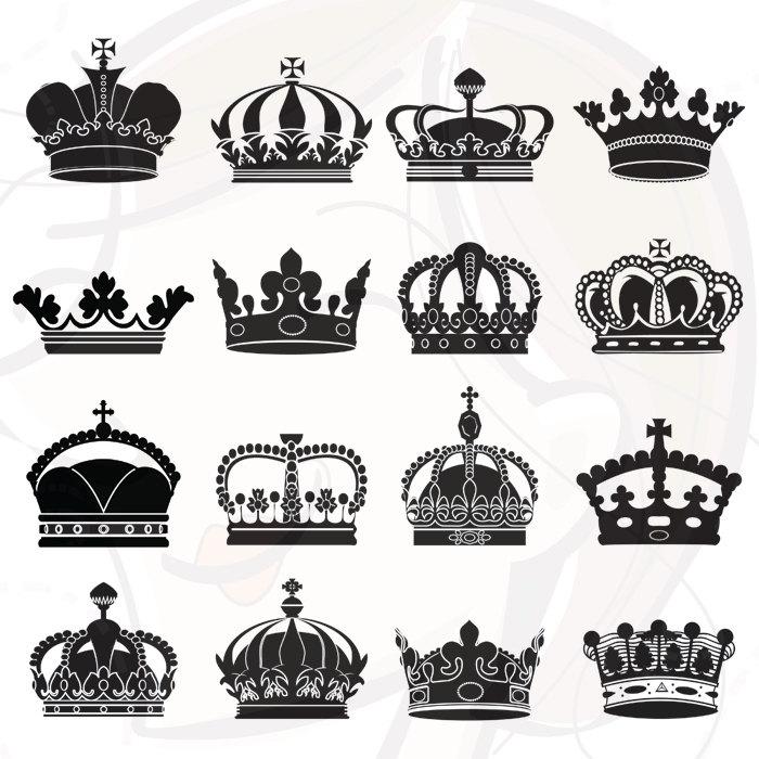 Silhouette Crowns Digital Clip Art Crown Clipart Decorative.