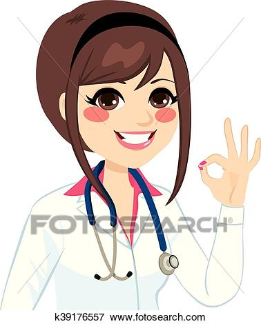 Female Doctor Ok Sign Clip Art.